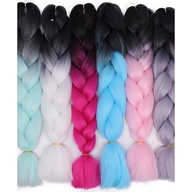 halpa Hiuspunokset-Virkkaa hiukset punokset Jumbo Box punokset Ombre Synteettiset hiukset Letitetty 1 kpl / Hiusten pituus kuvassa on 24 tuumaa.