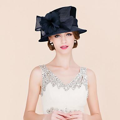 Lin / Fjäder / Satin Kentucky Derby Hat / fascinators / hattar med 1 Bröllop / Speciellt Tillfälle / Casual Hårbonad