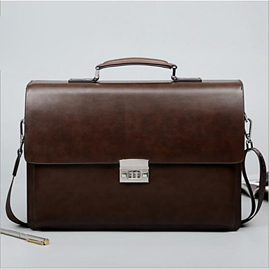 cheap Briefcases-Laptop Bag Briefcase Top Handle Bag Unisex PU Leather Belt Zipper Office & Career Black Brown