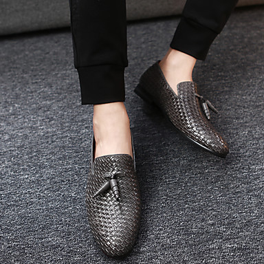 cheap Men's Slip-ons & Loafers-Men's Dress Shoes Fall / Winter Business / Casual Daily Party & Evening Outdoor Loafers & Slip-Ons Faux Leather Waterproof Non-slipping Wear Proof Black / Blue / Gray / Tassel / Tassel