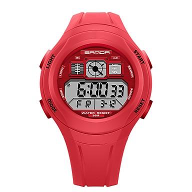 levne Pánské-SANDA Pánské Dámské Sportovní hodinky Digitální hodinky japonština Digitální Silikon Černá / Červená / Zelená 30 m Voděodolné Kalendář Stopky Digitální Animák Módní - Zelená Růžová Světle modrá