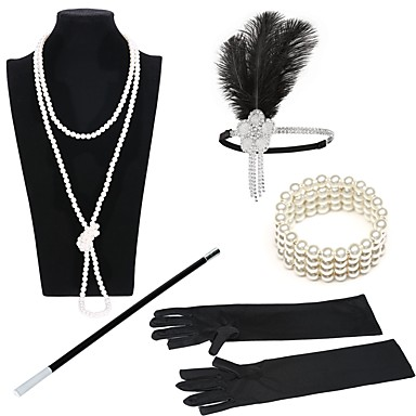 BLACK 20S GATSBY WOMEN/'S  COSTUME HAT AND PEARL NECKLACE. DRESS