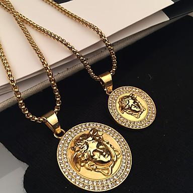 povoljno Modne ogrlice-Muškarci Ogrlice s privjeskom Sa stilom Rolo Graviranog glava Lice Statement pomodan Rock Hip Hop Legura Zlato 60 cm Ogrlice Jewelry 1pc Za Ulica Klub