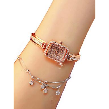 저렴한 정사각형 및 직사각형 시계-여성용 손목 시계 다이아몬드 시계 스퀘어 시계 석영 숙녀 크로노그래프 실버 / 골드 / 로즈 골드 아날로그 - 로즈 골드 골드 실버 / 야광의 / 모조 다이아몬드