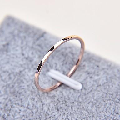 billige Motering-Par Ring tommelfingerring 1pc Rose Gull Titanium Stål Sirkelformet damer Enkel Grunnleggende Daglig Skole Smykker Klassisk Elegant Smuk