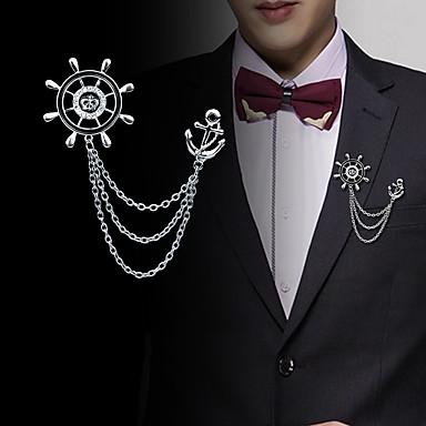 Muškarci Kubični Zirconia Broševi Sa stilom Poveznica / lanac Kreativan Sidro Statement Moda Uglađeni Broš Jewelry Zlato Pink Za Vjenčanje Party