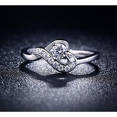 billige Moderinge-Dame Ring Kvadratisk Zirconium 1pc Sølv Plastik Anderledes Damer Romantik Sød Bryllup Gave Smykker mismatched Hjerte Smuk