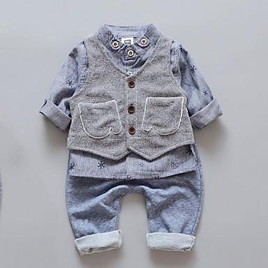 povoljno Odjeća za dječake-Dijete koje je tek prohodalo Dječaci Osnovni Jednobojni Dugih rukava Komplet odjeće Plava