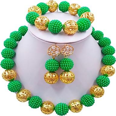 levne Dámské šperky-Dámské Náhrdelník Jeden pruh Řemeslník MOON dámy Módní Elegantní Afričan Náušnice Šperky Zelená / Růžová / Žhavá růžová Pro Svatební
