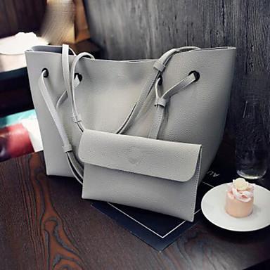 cheap Under $12.99-Women's Zipper PU Bag Set Bag Sets 2 Pieces Purse Set Black / Dark Grey / Blushing Pink