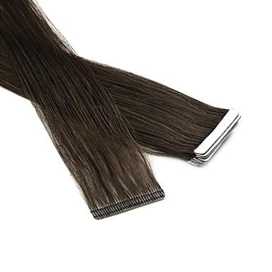 voordelige Extensions van echt haar-Neitsi Tape-in Extensions van echt haar Recht Mensen Remy Haar Extentions van mensenhaar Euro-Aziatisch haar Zwart Blond 1pc / verpakking Zacht Zijdeachtig Feest Dames Medium bruin