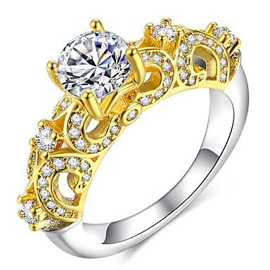 billige Motering-Dame Ring Micro Pave Ring 1pc Gull 18K Gullbelagt Kobber Fuskediamant damer Klassisk Elegant Bryllup Fest Smykker Klassisk Skulptur simulert Dyrebar Søtt