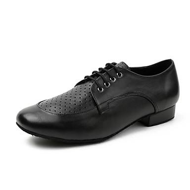 preiswerte Standardtanzschuhe & Modern Dance Schuhe-Herrn Tanzschuhe Leder Schuhe für modern Dance Farbaufsatz Sneaker Starke Ferse Schwarz / Praxis