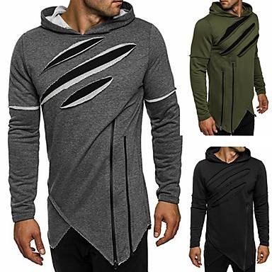 6198b272e1b Homme Mosaïque Pull à capuche   Sweatshirt Noir Vert Véronèse Gris Des  sports Bloc de Couleur Sweat à capuche Course   Running Fitness  Entraînement de gym ...
