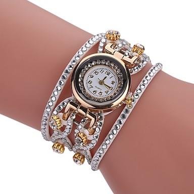levne Dámské-Dámské Náramkové hodinky Diamond Watch Křemenný Wrap Z umělé kůže Černá / Bílá / Modrá Nový design Hodinky na běžné nošení imitace Diamond Analogové dámy Na běžné nošení Módní - Červená Modrá Růžová