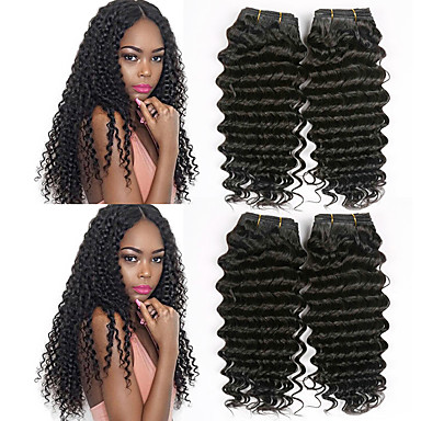 4 paketića Peruanska kosa Duboko Val Ljudska kosa Wig Accessories Ljudske kose plete Produžetak 8-28 inch Prirodna boja Isprepliće ljudske kose Smooth Prirodno Najbolja kvaliteta Proširenja ljudske