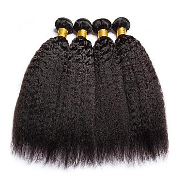 povoljno Ekstenzije za kosu-4 paketića Yaki Straight Ljudska kosa Netretirana  ljudske kose Ljudske kose plete Styling kose Produžetak 8-28 inch Prirodna boja Isprepliće ljudske kose Cosplay Najbolja kvaliteta Rasprodaja / 8A