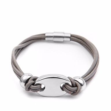 voordelige Herensieraden-Heren loom Bracelet Stijlvol Gevlochten Varken Punk Europees modieus Titanium Staal Armband sieraden Zwart / Grijs / Bruin Voor Straat Feestdagen / Bont