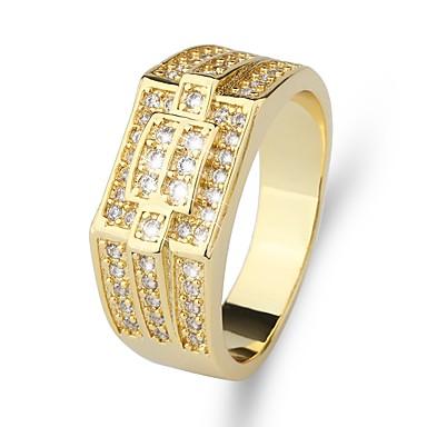 voordelige Herensieraden-Heren Ring Zegelring 1pc Goud Messinki Gesimuleerde diamant 24K Gold Plated Luxe Klassiek Modieus Bruiloft Avond Feest Sieraden Klassiek Stijlvol Kostbaar Cool