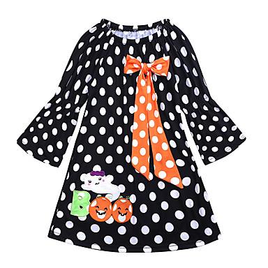 preiswerte Kleider für Babys-Baby Mädchen Aktiv / Grundlegend Punkt / Halloween Langarm Übers Knie Kleid Schwarz