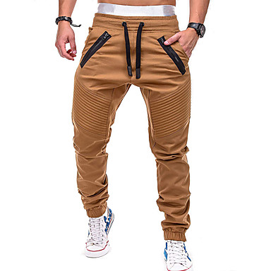 cheap Exercise, Fitness & Yoga-Men's Joggers Jogger Pants Track Pants Pants / Trousers Sweatpants Athleisure Wear Beam Foot Drawstring Fitness Gym Workout Leisure Sports Running Thermal Warm Breathable Plus Size Sport Cream Black