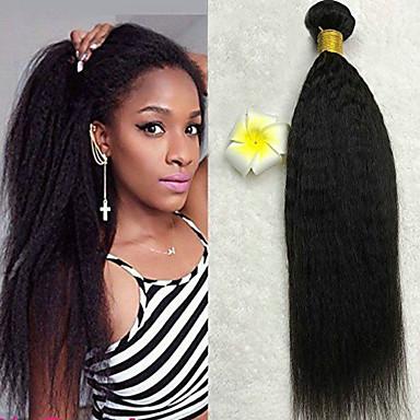 povoljno Ekstenzije od ljudske kose-6 paketića Malezijska kosa Kinky Ravno 100% Remy kose tkanja Bundle Ljudske kose plete Bundle kose Jedan Pack Solution 8-28 inch Prirodna boja Isprepliće ljudske kose Svilenkast Smooth Gust