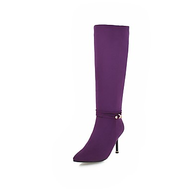 2c5b6ac3467 Women's Boots Fashion Boots Stiletto Heel Pointed Toe Rhinestone Elastic  Fabric Knee High Boots Minimalism Fall & Winter Black / Purple / Wedding /  Party ...