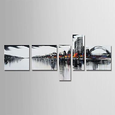 povoljno Ukrašavanje zidova-Hang oslikana uljanim bojama Ručno oslikana - Sažetak Arhitektura Moderna Uključi Unutarnji okvir / Pet ploha / Prošireni platno