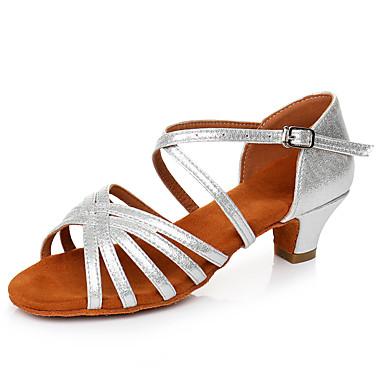 preiswerte Tanzschuhe-Damen Tanzschuhe Lackleder Schuhe für den lateinamerikanischen Tanz Schnalle Sandalen / Absätze Starke Ferse Maßfertigung Silber / Leistung