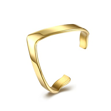billige Motering-Dame Åpne Ring 1pc Gull Sølv Titanium Stål Rustfritt stål Geometrisk Form damer Klassisk Grunnleggende Daglig Arbeid Smykker Klassisk Elegant Kreativ Kul
