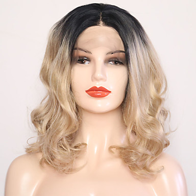 aceaf11ef7a [$44.99] Synthetic Lace Front Wig Wavy Style Middle Part Lace Front Wig  Blonde Black / Gold Synthetic Hair 12 inch Women's Adjustable / Heat  Resistant ...