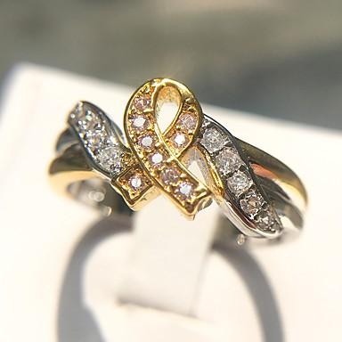 billige Motering-Dame Ring 1pc Regnbue Kobber Platin Belagt Fuskediamant damer Unikt design Mote Daglig Formell Smykker Klassisk Elegant Kreft Håp Kul