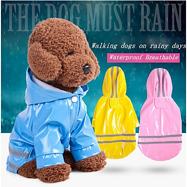 cheap Dog Clothes-Dogs / Cats Jacket / Raincoat / Reflective Band Dog Clothes Solid Colored / Striped Red / Pink / Light Blue PU Leather Costume For Pets Unisex Waterproof / Windproof / Trendy