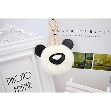 Oso Panda Llavero Blanco Verde Rosa Animal Tela De Pelo De