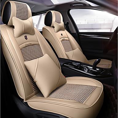 voordelige Auto-interieur accessoires-5 zitplaatsen met twee kussens en twee heupkussens vier seizoenen universele autostoelhoes / ijszijde materiaal en pu leer / airbag compatibiliteit / verstelbaar en verwijderbaar / beige