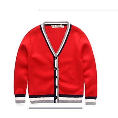 povoljno Odjeća za dječake-Djeca Dječaci Osnovni Dnevno Jednobojni Color block Dugih rukava Regularna Pamuk Džemper i kardigan Red
