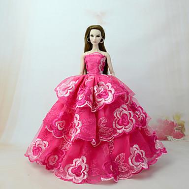 levne Doplňky pro panenky-Šaty pro panenky Šaty Pro Barbie Krajka Fuchsiová Tyl Krajka Směs bavlny Šaty Pro Dívka je Doll Toy