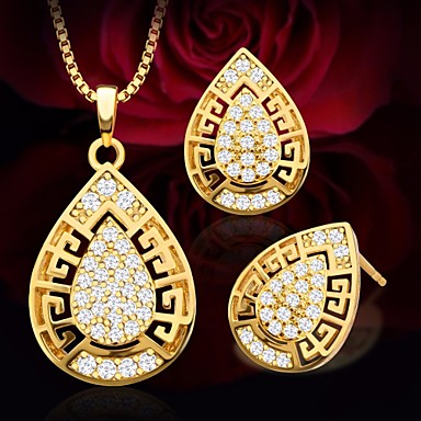 Women S Aaa Cubic Zirconia Hollow Out Jewelry Set Drop Pear