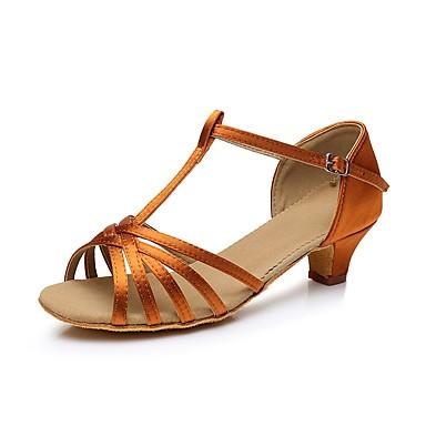 preiswerte Tanzschuhe-Mädchen Tanzschuhe Satin Schuhe für den lateinamerikanischen Tanz Absätze Kubanischer Absatz Maßfertigung Weiß / Schwarz / Braun / Leder