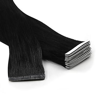 povoljno Ekstenzije za kosu-Neitsi S ljepljivom trakom Proširenja ljudske kose Ravan kroj Remy kosa Ekstenzije od ljudske kose Euroazijska kosa Crna Plavuša 1pc / paket Nježno Svilenkast Party Žene Srednje smeđa
