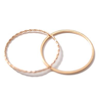 billige Motering-Dame Ring Set Midiringe Stable Ringer 2pcs Gull Legering Rund Dainty damer Enkel Daglig Ut på byen Smykker Klassisk Elegant Vredet Bølge