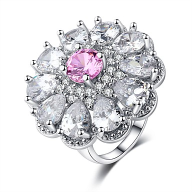 cheap Rings-Women's Ring Belle Ring Cubic Zirconia 1pc Pink Platinum Plated White Gold Ladies Sweet Fashion Wedding Carnival Jewelry Stack Flower