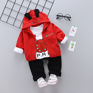 cheap Clearance-Baby Boys' Basic Daily Solid Colored Long Sleeve Regular Regular Cotton Clothing Set Red