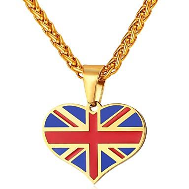 levne Pánské šperky-Pánské Náhrdelníky s přívěšky Klasika Srdce Vlajka Vlastenecké šperky Bristké Nerez Zlatá Stříbrná 55 cm Náhrdelníky Šperky 1ks Pro Dar Denní