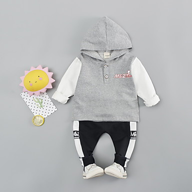 cheap Kids' New Arrivals-Baby Boys' Casual Black & White Print / Color Block Patchwork / Print Long Sleeve Long Regular Clothing Set Black