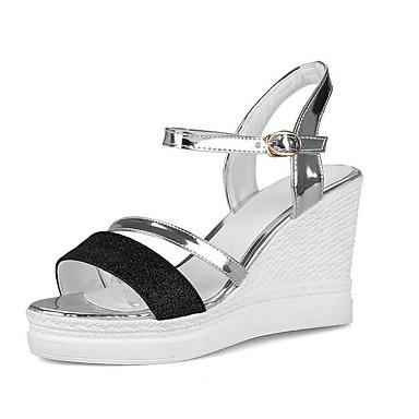 Tela Mujer Zapatos Confort Tacón Primavera Cuña Dorado Sandalias R35Aqc4jSL