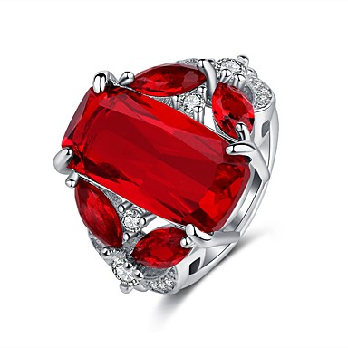 cheap Rings-Women's Statement Ring Ring 1pc Red Copper Rhinestone Platinum Plated Four Prongs Ladies Vintage Hyperbole Wedding Party Jewelry Vintage Style Classic Solitaire Hope Cute Cool