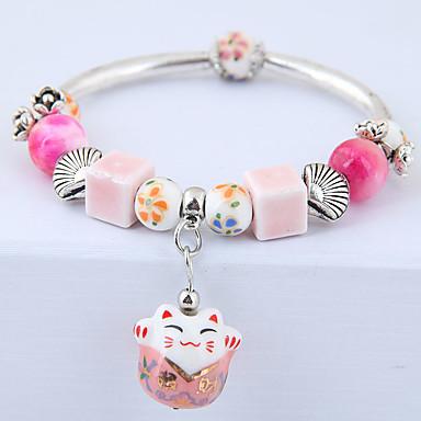 levne Dámské šperky-Dámské Korálkový náramek Stylové Kočka Lebka Módní Cute Style Keramika Náramek šperky Modrá / Růžová Pro Denní