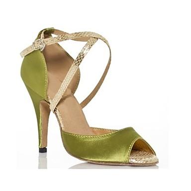 preiswerte Samba Tanzschuhe-Damen Tanzschuhe Satin Schuhe für den lateinamerikanischen Tanz / Samba Tanzschuhe Schnalle Absätze Schlanke High Heel Maßfertigung Armeegrün / Leistung / Leder