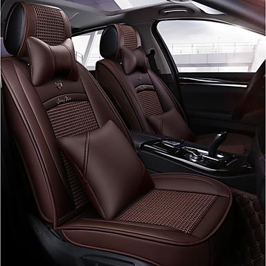 voordelige Auto-interieur accessoires-vier seizoenen universeel bruin vijfzits autostoelkussen / ijszijde materiaal en pu leer / verstelbaar en afneembaar / twee kussens / twee heupkussens